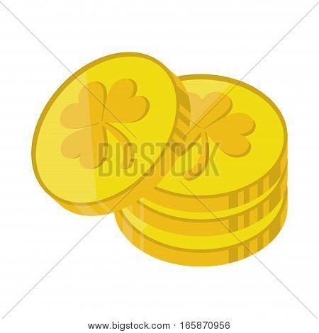st patrick day pile coins golden sign vector illustration eps 10
