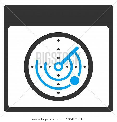 Radar Calendar Page vector toolbar icon. Style is bicolor flat icon symbol blue and gray colors white background.