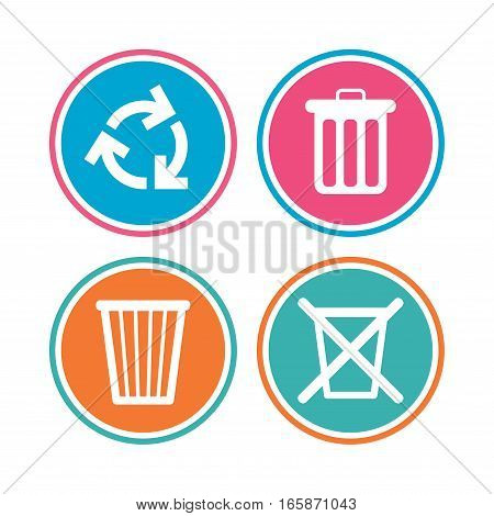 Recycle bin icons. Reuse or reduce symbols. Trash can and recycling signs. Colored circle buttons. Vector