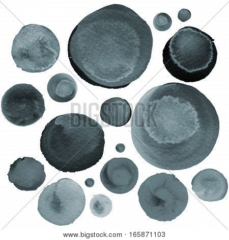 Modern background of grey and black bubbles painted in watercolor. Abstract monochrome pattern with ink circles and dots.