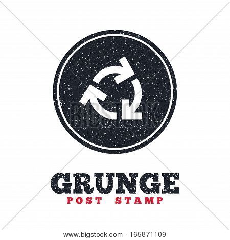 Grunge post stamp. Circle banner or label. Recycling sign icon. Reuse or reduce symbol.. Dirty textured web button. Vector