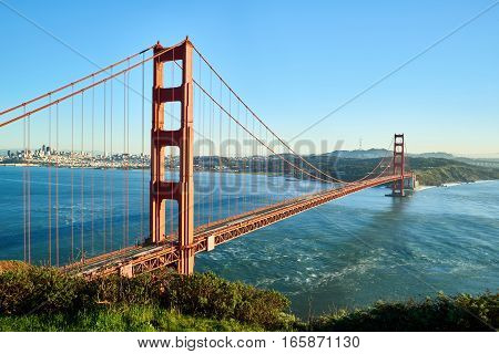 Golden Gate Bridge city view from above in San Francisco