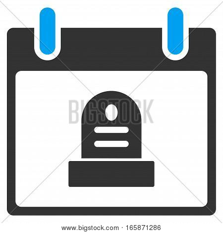 Rip Monument Calendar Day vector toolbar icon. Style is bicolor flat icon symbol blue and gray colors white background.