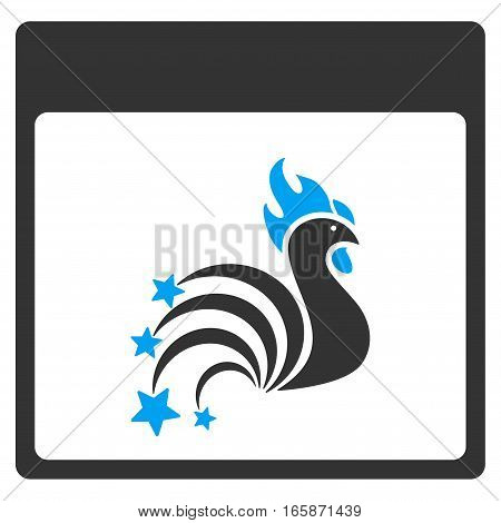 Rooster Fireworks Calendar Page vector toolbar icon. Style is bicolor flat icon symbol blue and gray colors white background.