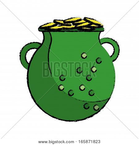 cartoon st patrick day green pot golden coins vector illustration eps 10