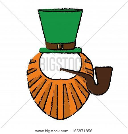 cartoon st patrick day leprechaun beard hat and tobacco pipe vector illustration eps 10