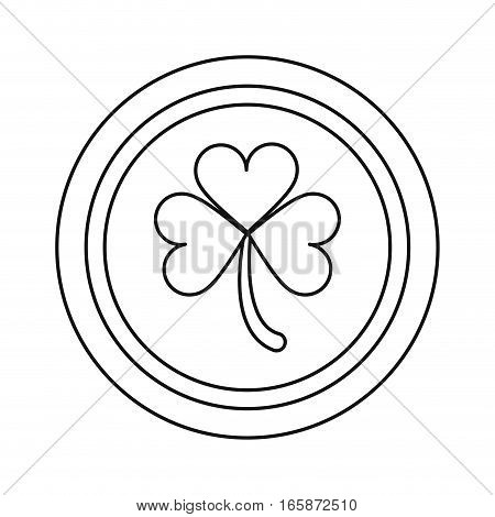 saint patrick day coin shamrock icon outline vector illustration eps 10