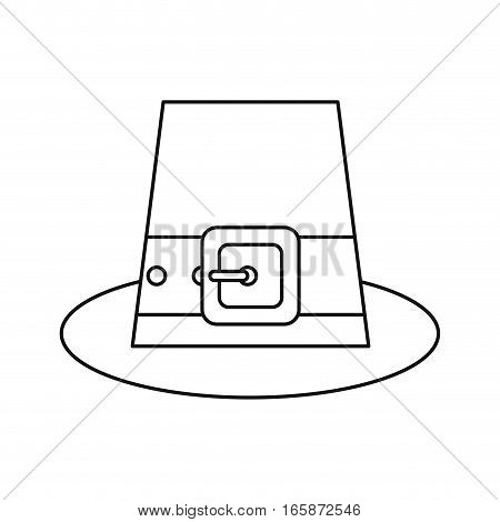 saint patrick day top hat with buckle outline vector illustration eps 10