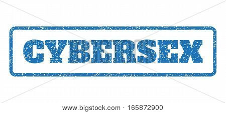 Blue rubber seal stamp with Cybersex text. Vector message inside rounded rectangular banner. Grunge design and dust texture for watermark labels. Horizontal sign on a white background.