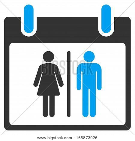 Water Closet Calendar Day vector toolbar icon. Style is bicolor flat icon symbol blue and gray colors white background.