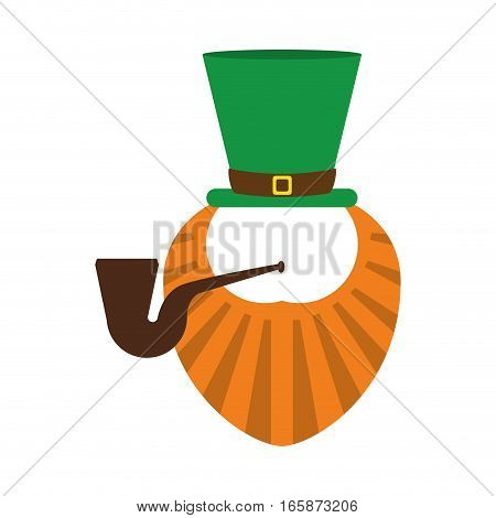 st patrick day leprechaun beard and tobacco pipe vector illustration eps 10
