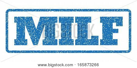 Blue rubber seal stamp with Milf text. Vector tag inside rounded rectangular frame. Grunge design and unclean texture for watermark labels. Horizontal emblem on a white background.