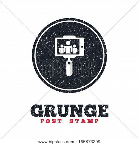 Grunge post stamp. Circle banner or label. Monopod selfie stick icon. Self portrait with group of people. Dirty textured web button. Vector