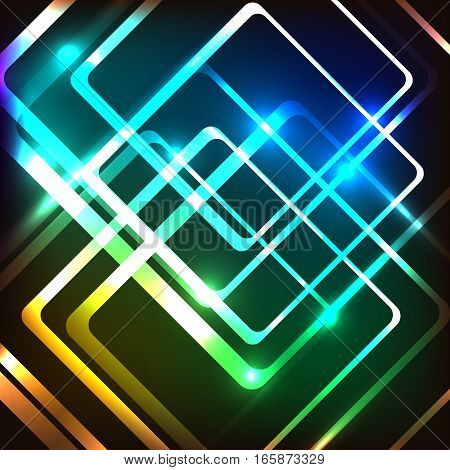 Abstract colorful background with glowing rounded rectangles, stock vector