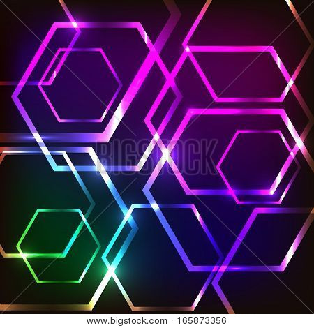 Abstract glowing background with hexagons, stock vector