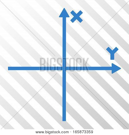 Cobalt Cartesian Axes toolbar pictogram. Vector pictograph style is a flat symbol on diagonally hatched transparent background.