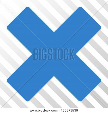 Cobalt Delete X-Cross toolbar pictogram. Vector pictograph style is a flat symbol on diagonal hatch transparent background.