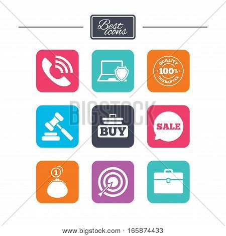Online shopping, e-commerce and business icons. Auction, phone call and sale signs. Cash money, case and target symbols. Colorful flat square buttons with icons. Vector