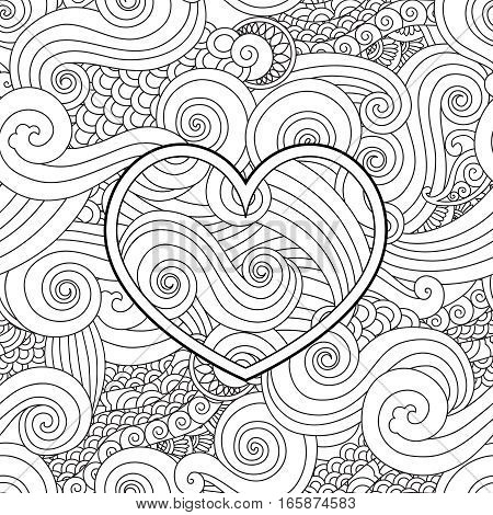 Coloring page with heart and asian wave curl ornament. Happy valentine day love card. Square composition. Seamless pattern. coloring book for adult and older children. Art vector illustration.