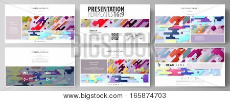 Business templates in HD format for presentation slides. Easy editable abstract vector layouts in flat design. Bright color lines and dots, colorful minimalist backdrop with geometric shapes forming beautiful minimalistic background.