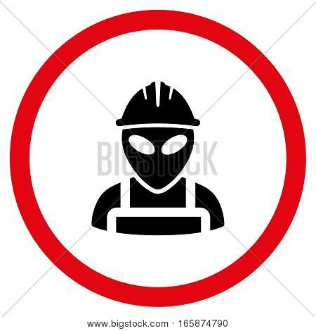 Alien Worker vector bicolor rounded icon. Image style is a flat icon symbol inside a circle intensive red and black colors white background.