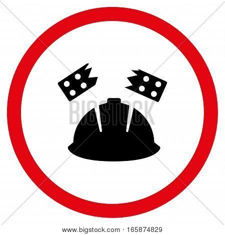 Brick Helmet Accident vector bicolor rounded icon. Image style is a flat icon symbol inside a circle intensive red and black colors white background.