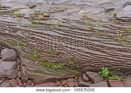 Layered Rock on a Lakeshore on Lake Superior in Porcupine Mountains National Park in Michigan
