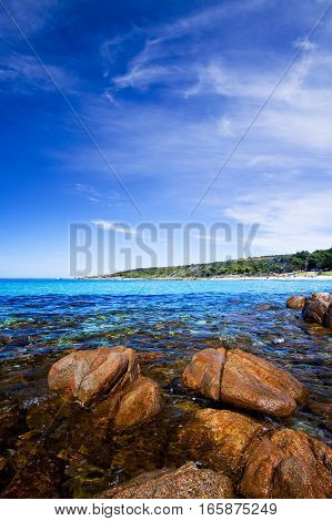 Meelup Beach with a beautiful blue sky on a summer day - Dunsborough, South Western Australia, Australia.
