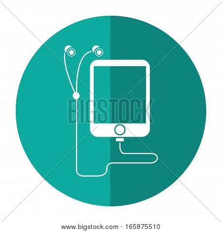mp3 device play music earphones shadow vector illustration eps 10