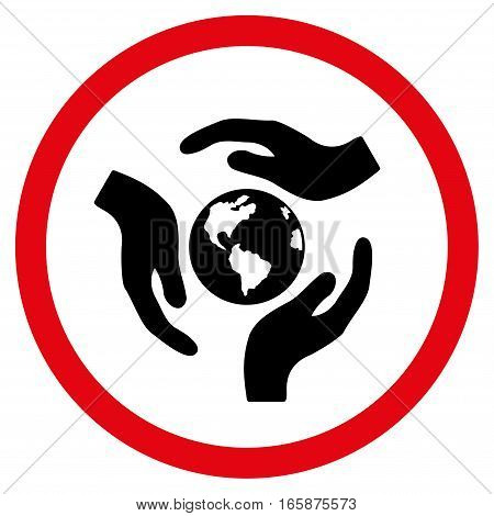 Global Care vector bicolor rounded icon. Image style is a flat icon symbol inside a circle intensive red and black colors white background.