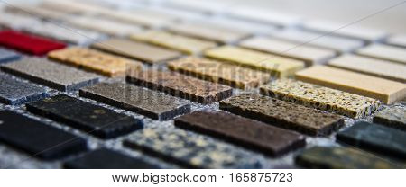 Granite countertops. Kitchen granite countertops color samples. Modern kitchen countertops. Colorfull kitchen granite countertops squares. Countertops concept. Granite Stone.