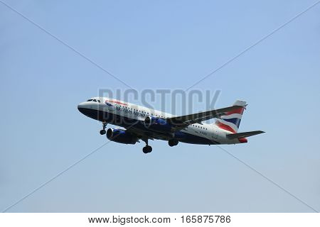 Amsterdam The Netherlands - June 12 2015: G-EUOD British Airways Airbus A319 takes off at Amsterdam Airport Schiphol Polderbaan runway.
