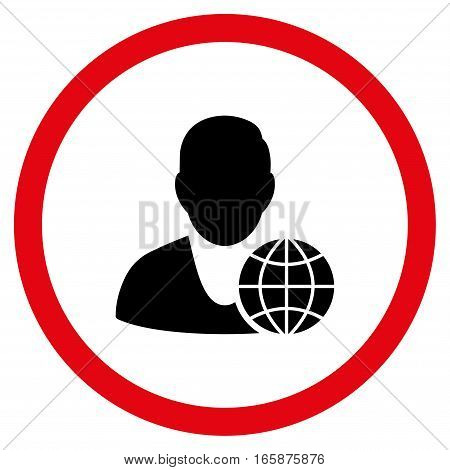 Global Manager vector bicolor rounded icon. Image style is a flat icon symbol inside a circle intensive red and black colors white background.