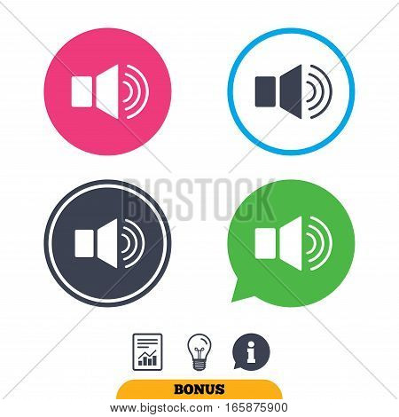 Speaker volume sign icon. Sound symbol. Report document, information sign and light bulb icons. Vector