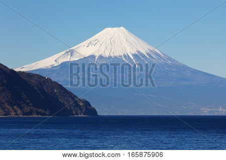 Mountain fuji and Japan sea in winter seen from Izu city Shizuoka prefecture