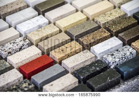 Granite countertop. Kitchen granite countertop color samples. Modern kitchen countertop. Colorfull kitchen granite countertop squares. Countertops concept. Granite Stone.