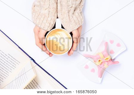 Female Hands Holding Cup Of Cappuccino. Gift Alike Dessert With Heart Shape Sprinkles. Flat Lay. Val