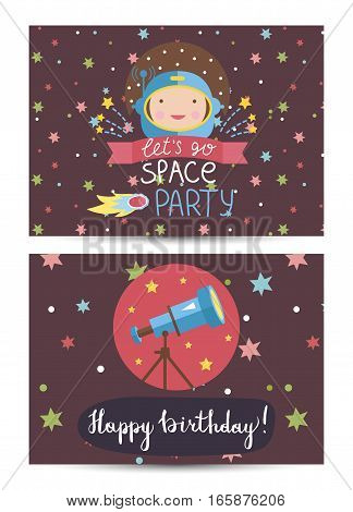 Happy birthday cartoon greeting card on space theme. Astronaut in helmet, fiery comet, colorful stars and telescope vector. Invitation on childrens costumed party. Greeting card for kids. Cartoon space on happy birthday greeting cards