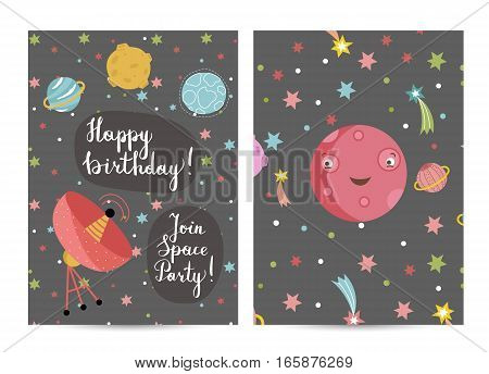 Happy birthday cartoon greeting card on cosmic theme. Parabolic space antenna, smiling cute Mars planet in space vector. Bright invitation on childrens costume party. Greeting card for kids. Cartoon space on happy birthday greeting cards