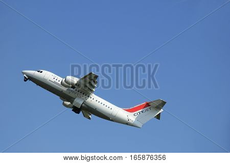 Amsterdam The Netherlands - June 12 2015: EI-RJZ Cityjet British Aerospace Avro RJ85 takes of from Amsterdam Airport Polderbaan runway. CityJet is an Irish regional airline with headquarters in Swords Dublin.