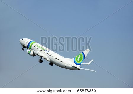 Amsterdam The Netherlands - June 12 2015: PH-HZF Transavia Boeing 737-800 takes of from Amsterdam Airport Polderbaan runway.