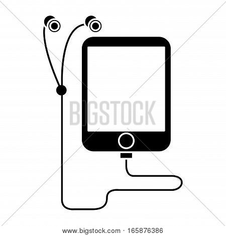 silhouette mp3 device play music earphones vector illustration eps 10