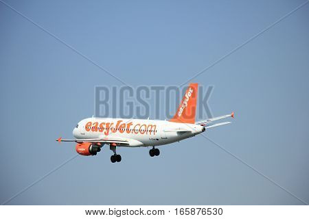 Amsterdam The Netherlands - June 12 2015: G-EZAY easyJet Airbus A319-111 takes off at Amsterdam Airport Schiphol Polderbaan runway. EasyJet is a British low-cost airline carrier based at London Luton Airport