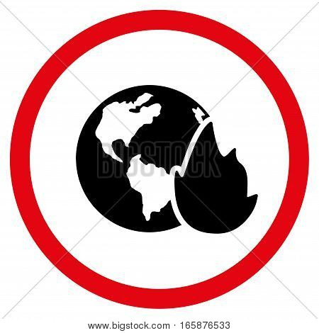 Planet Flame vector bicolor rounded icon. Image style is a flat icon symbol inside a circle, intensive red and black colors, white background.