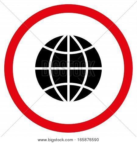 Planet Globe vector bicolor rounded icon. Image style is a flat icon symbol inside a circle, intensive red and black colors, white background.
