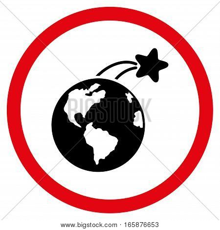 Rising Satellite On Earth vector bicolor rounded icon. Image style is a flat icon symbol inside a circle, intensive red and black colors, white background.