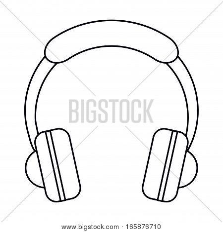headphones music listen mobile outline vector illustration eps 10