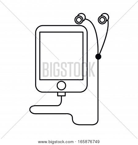 mp3 device play music earphones outline vector illustration eps 10
