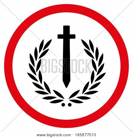 Sword Honor Emblem vector bicolor rounded icon. Image style is a flat icon symbol inside a circle, intensive red and black colors, white background.