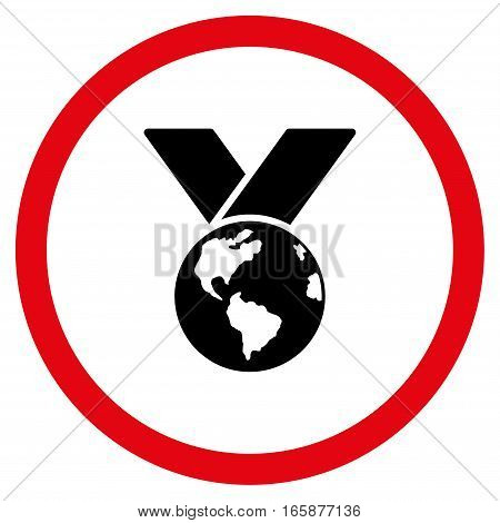 World Medal vector bicolor rounded icon. Image style is a flat icon symbol inside a circle, intensive red and black colors, white background.